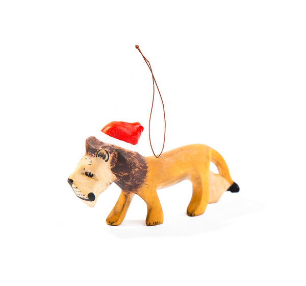 Handcarved Lion Ornament with Santa Hat