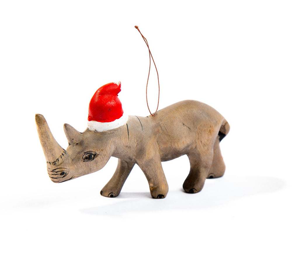 Handcarved Rhino Ornament with Santa Hat - fairtribe