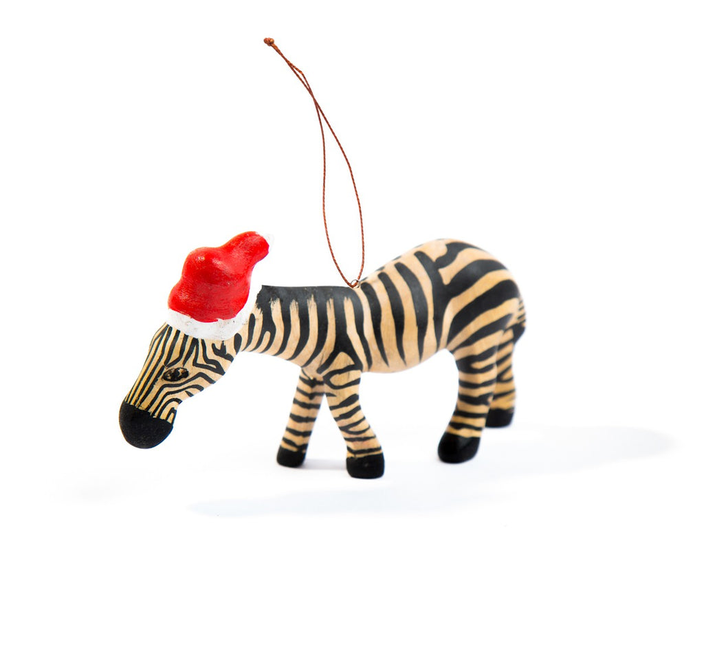 Handcarved Ornament Zebra with Santa Hat - fairtribe