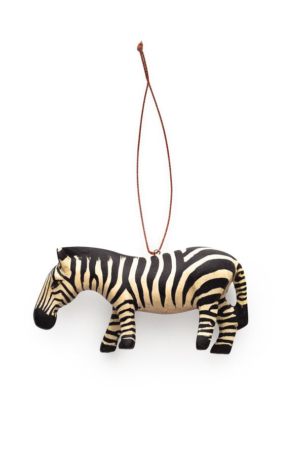 Hand-carved Zebra Ornament - fairtribe