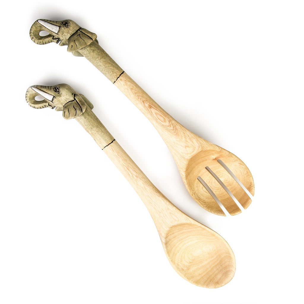 Elephant Wood Salad Spoons - fairtribe