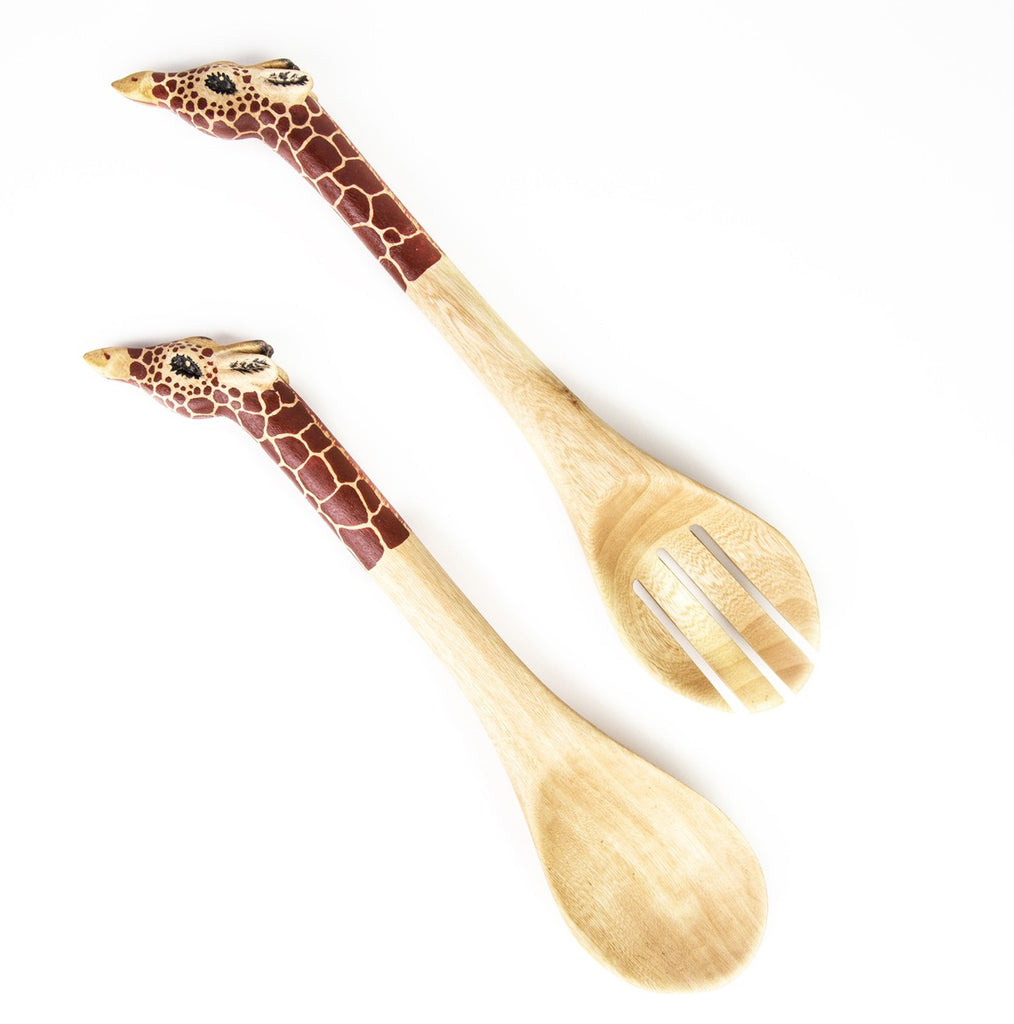 Giraffe Salad Server Spoons - fairtribe