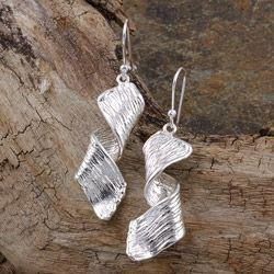 Sterling Silver Leaf Twist Dangle Earrings - fairtribe