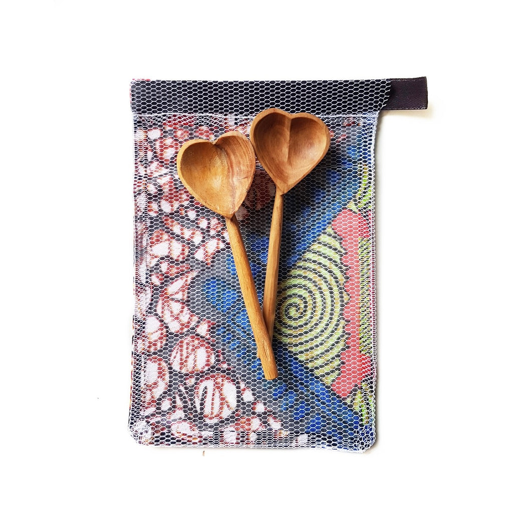 Olive Wood Heart Teaspoons | Set of 2