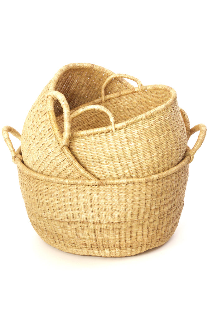 Set of Three: Ghana Natural Woven Grass Storage Baskets - fairtribe