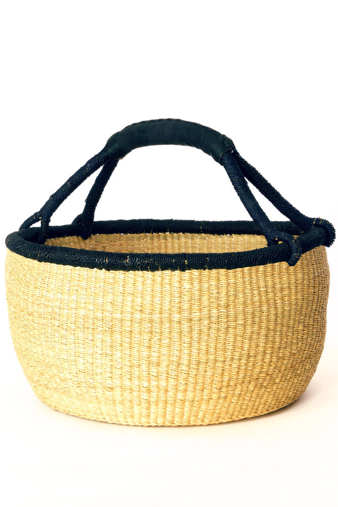 Oversize Bolga Basket with Dark Rim & Leather Handle - fairtribe