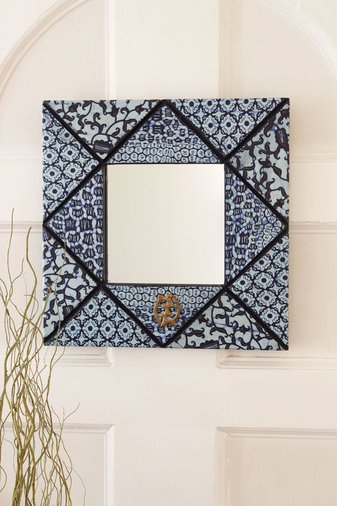 "16"" Square Bibire Wax Cloth Mirror - fairtribe"