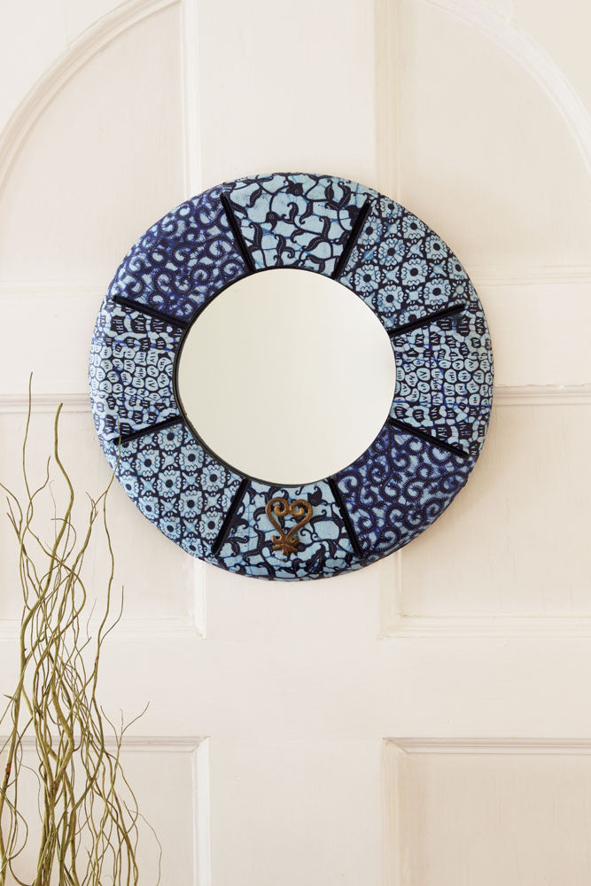 "16"" Round Bibire Wax Cloth Mirror - fairtribe"