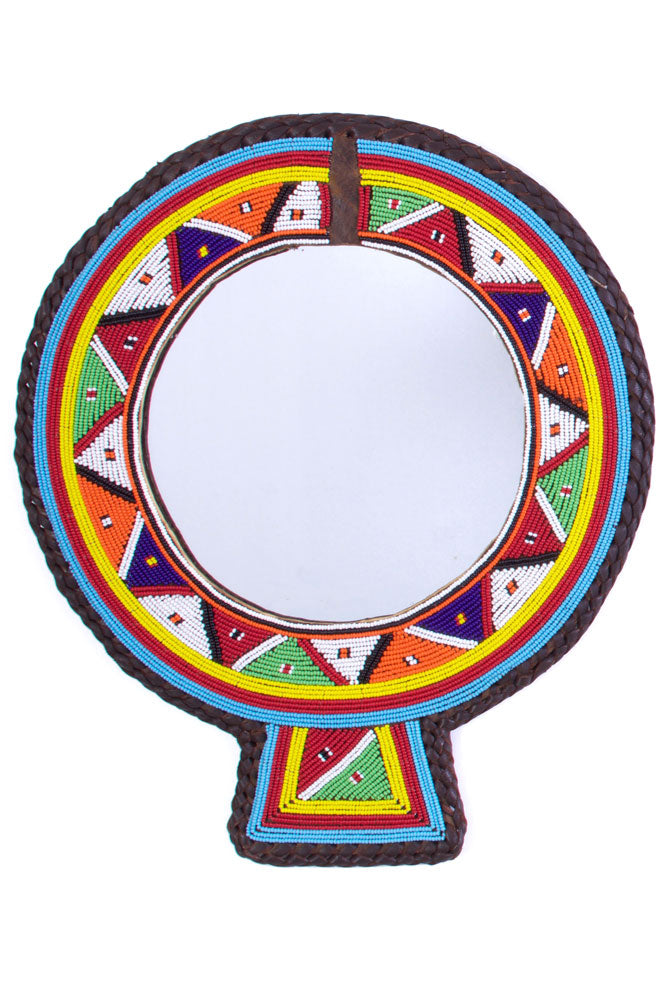 Large Maasai Wedding Necklace Rainbow Mirror - fairtribe