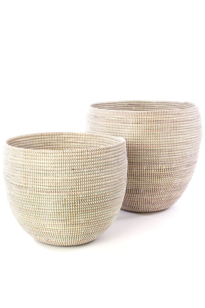 Set of 2 - White Nesting Baskets from Senegal - fairtribe