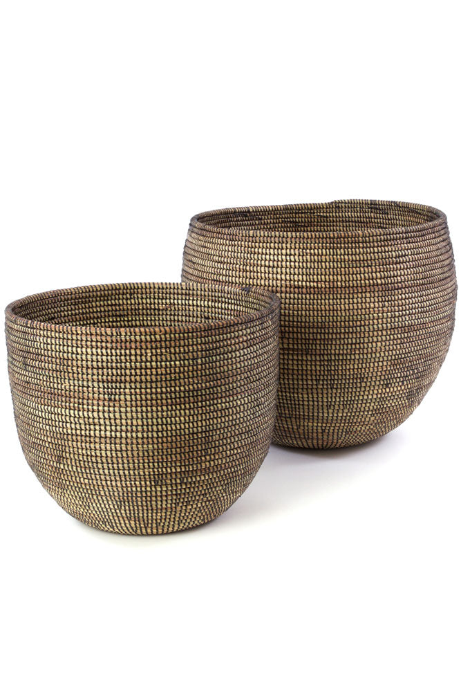 Set of 2 - Dark Brown Nesting Baskets from Senegal - fairtribe