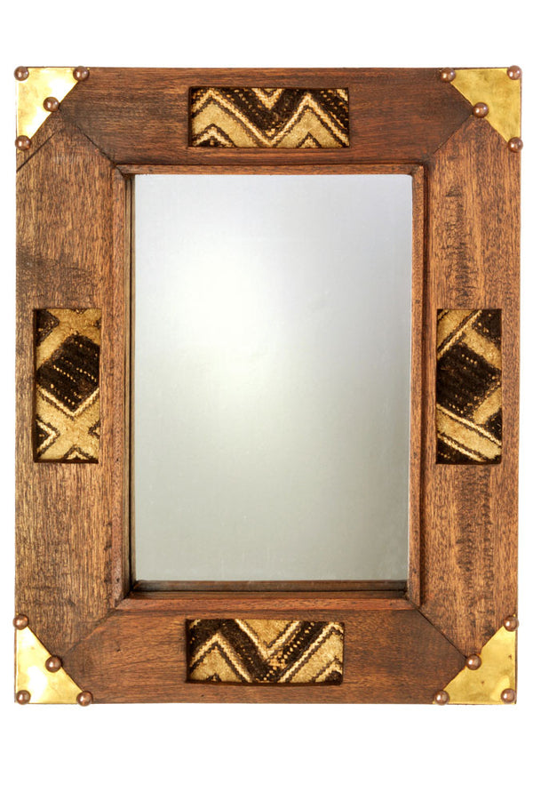 Kenyan Wooden Mirror with Kuba Cloth - fairtribe