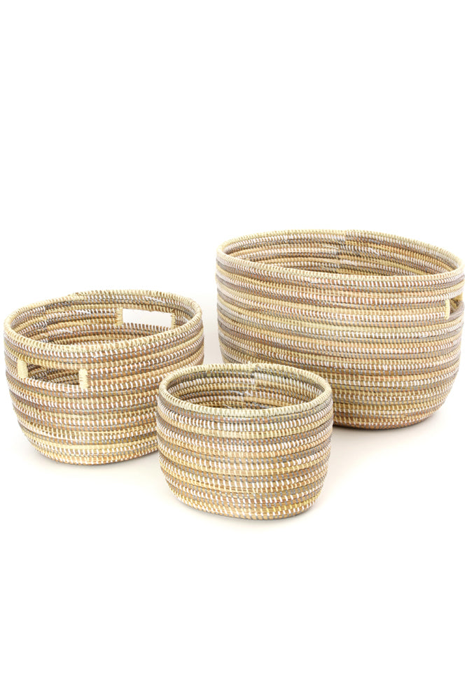Set of 3 -  Striped Silver, Cream & White Nesting Baskets from Senegal - fairtribe