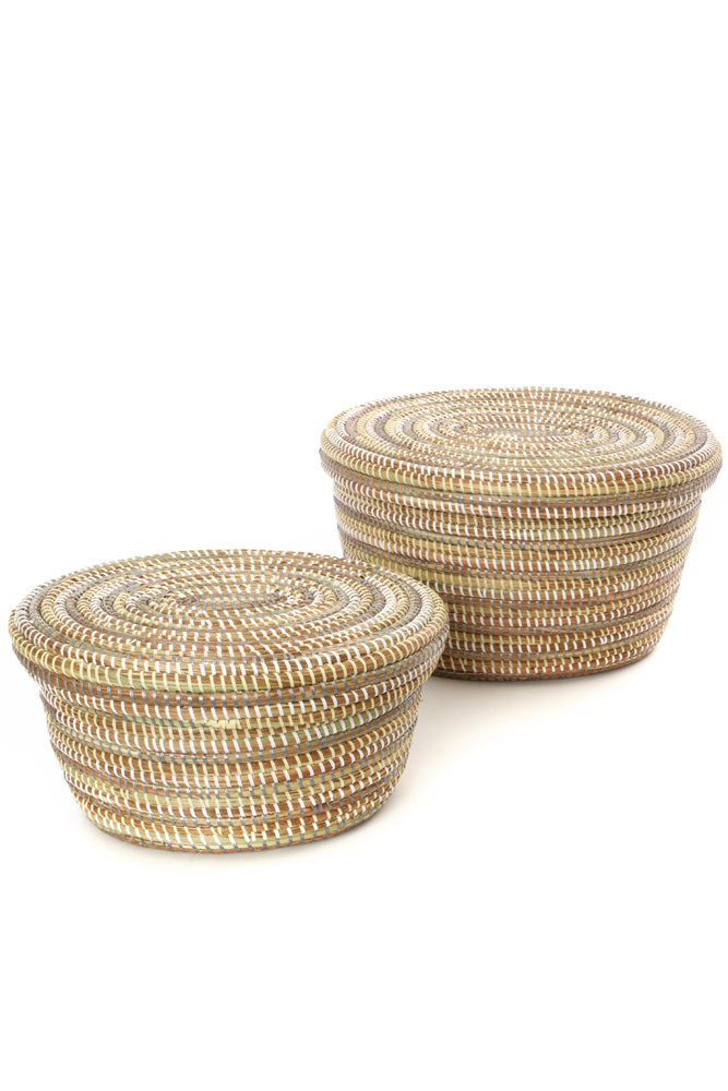 Set of Two Neutral Stripe Oval Nesting Lidded Baskets - fairtribe