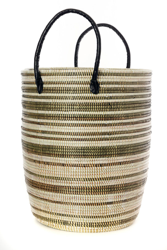 Set of 3 - Black Stripe Nesting Hamper Baskets with Leather Handles - fairtribe