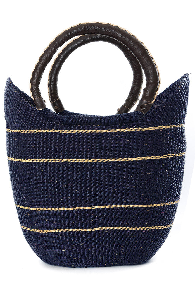 Bolga Tote, Midnight Blue Leather Handle - 18-inch