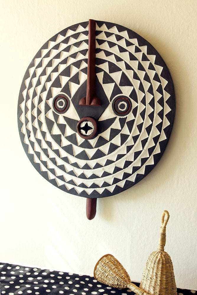 Bwa Black and White Wooden Sun Mask - fairtribe