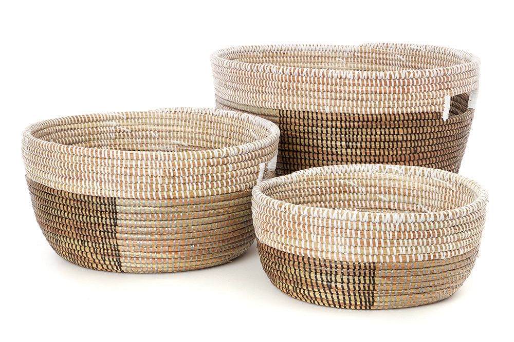 Set of 3 -  Set of Three Silver, Black & White  Baskets - fairtribe