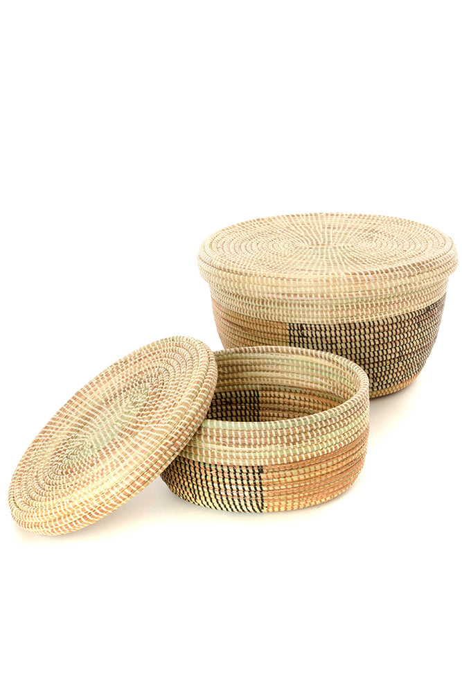 Set of Two Block Colors Oval Nesting Lidded Baskets - fairtribe