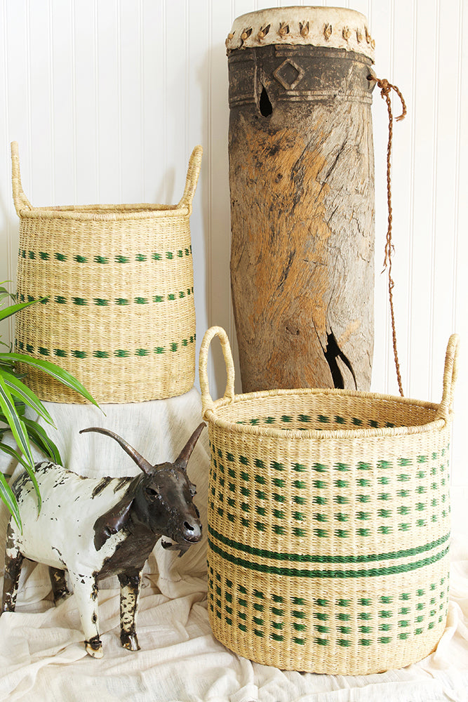 Set of Two Green Flecked Elephant Grass Baskets