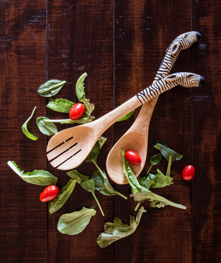 Handcarved Zebra Handle Salad Serving Spoons - fairtribe