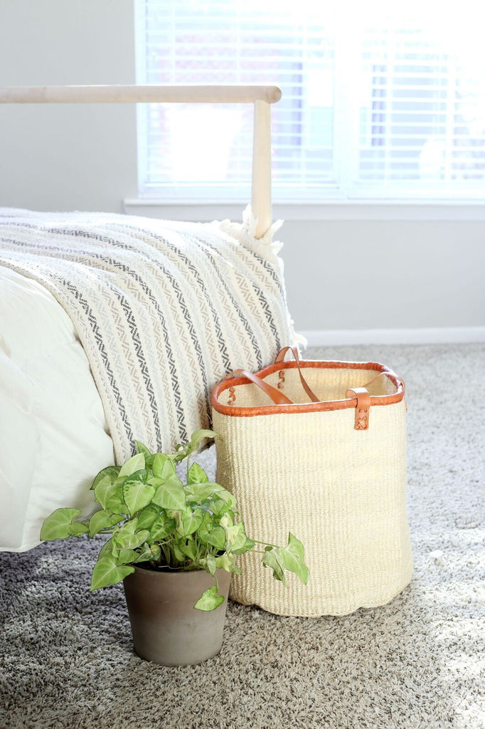 "15"" Sisal Market Tote - Natural White - fairtribe"