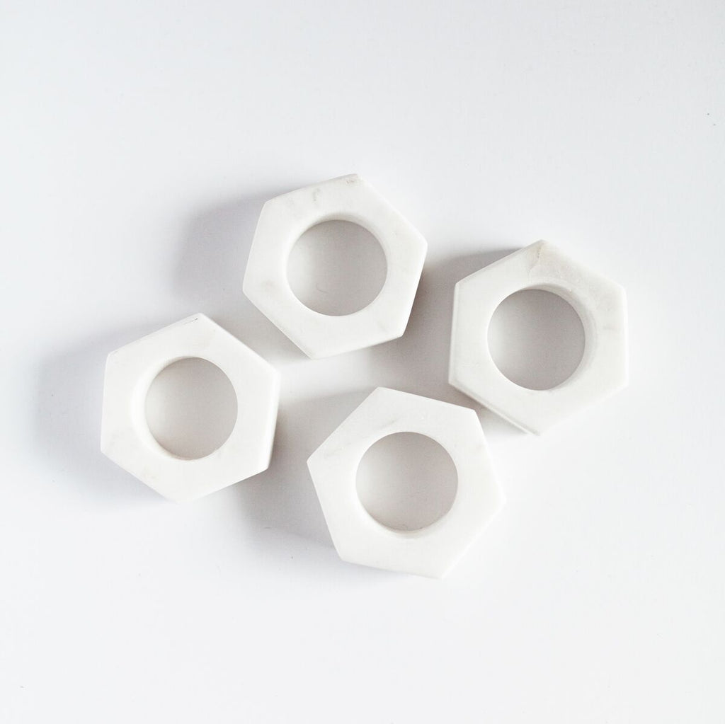 White Marble Hexa Napkin Ring Set of 4 - fairtribe