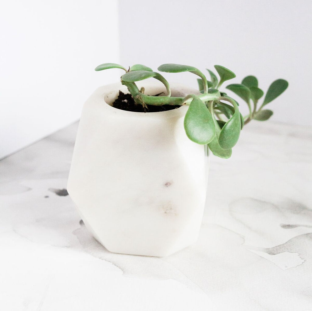 Geometric White Marble Planter - fairtribe