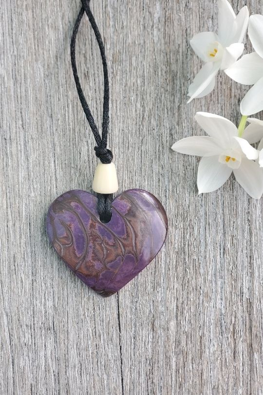 Tagua Nut Purple Heart Pendant
