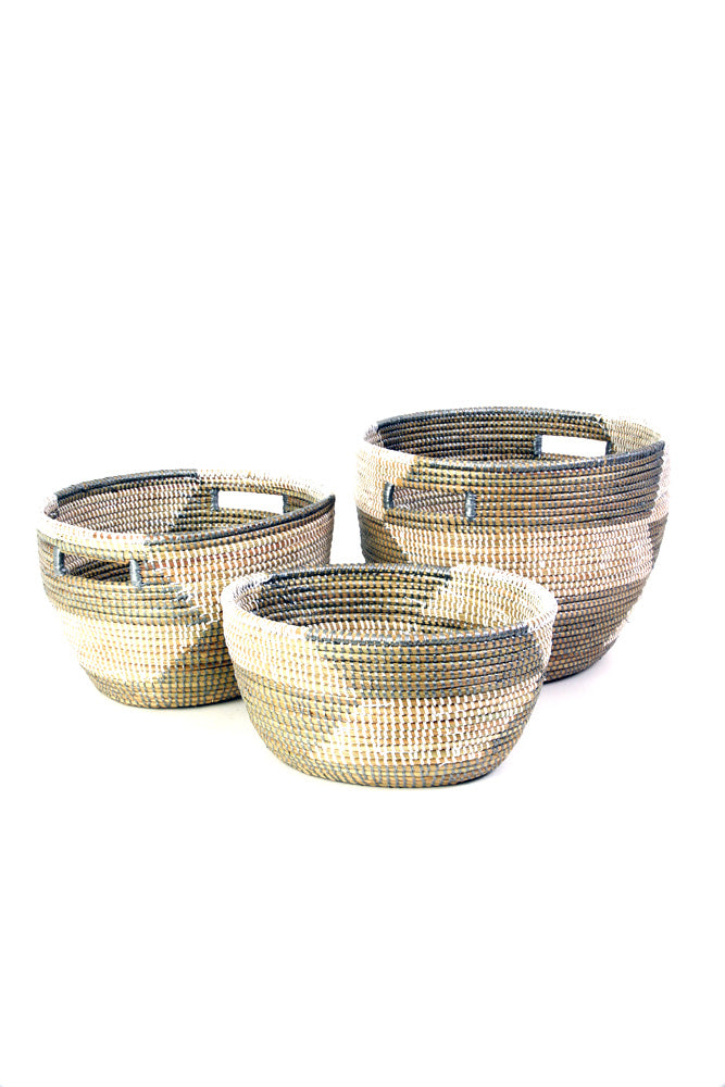 Set of 3 -  Herringbone Pattern African Baskets - fairtribe
