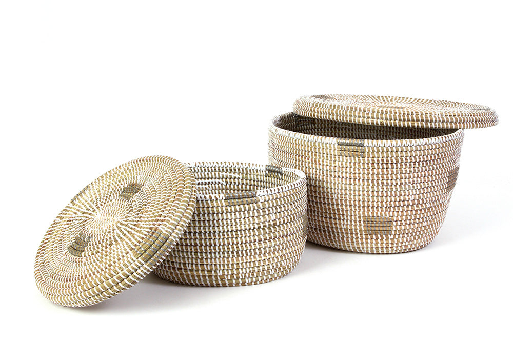Set of Two White Oval Nesting Lidded Baskets - fairtribe