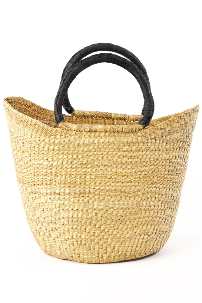 Woven Shopping Bag| Black Leather Handles | Handmade in Ghana