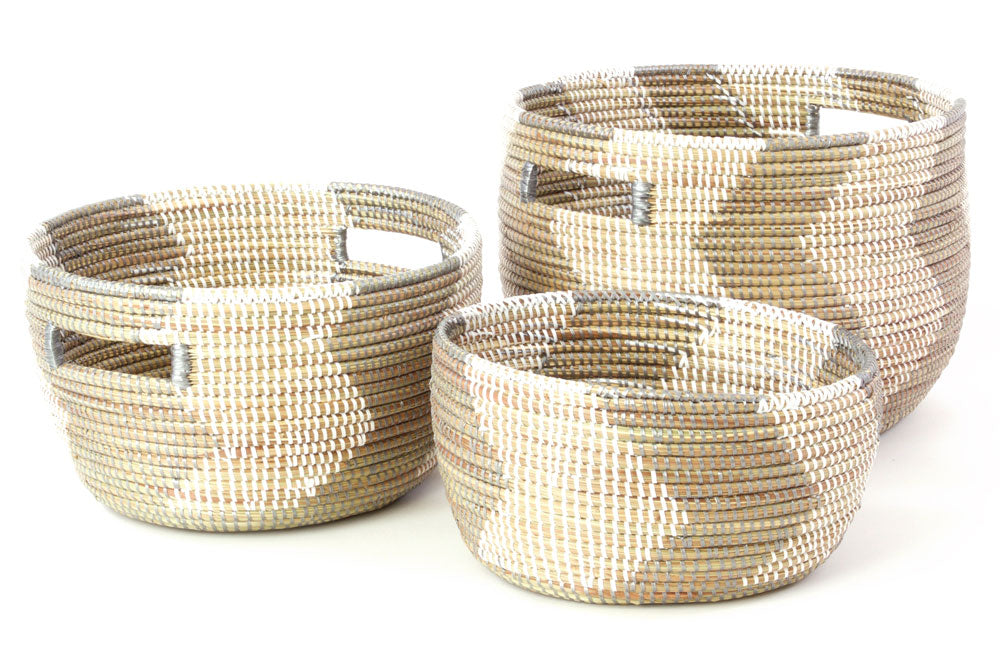 Set of 3 - White Zig Zag African Baskets from Senegal - fairtribe