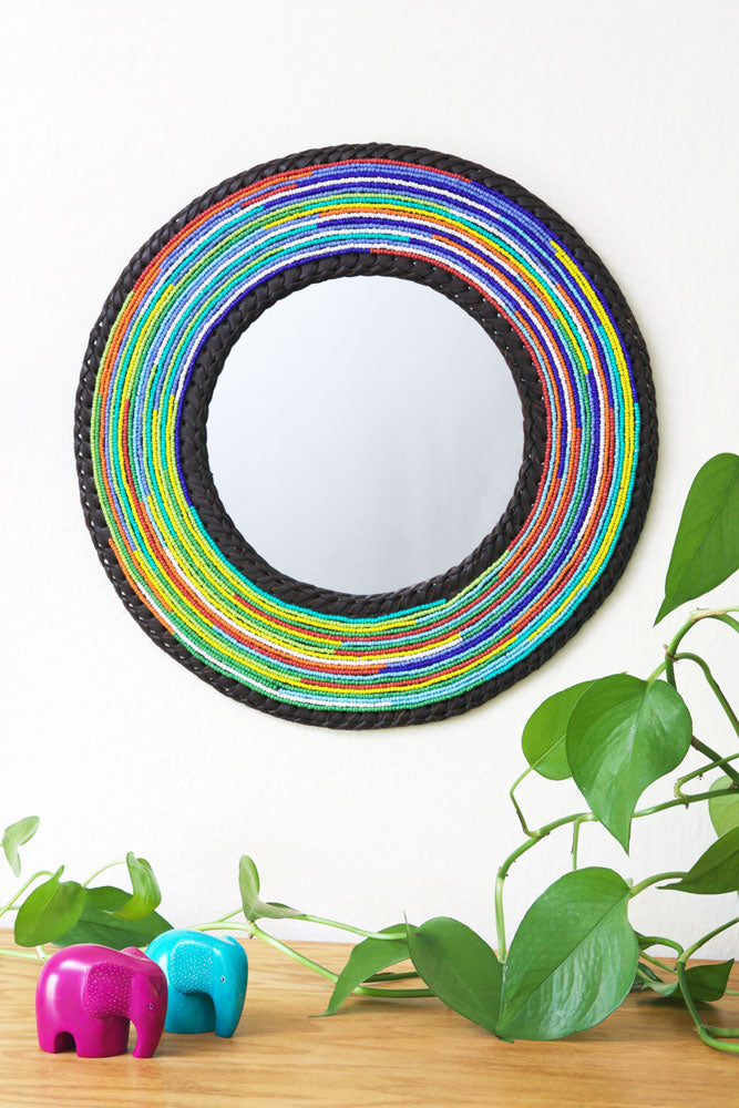 Medium Maasai Necklace Rainbow Mirror - fairtribe