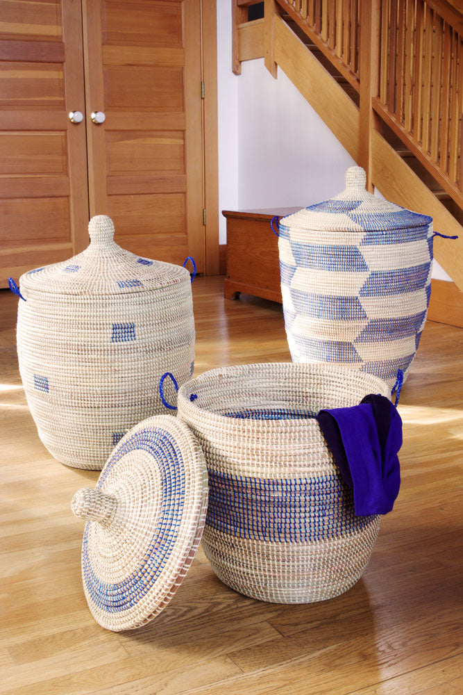 Set of 3 - Blue and Cream Mixed Pattern Oversized Hampers - fairtribe