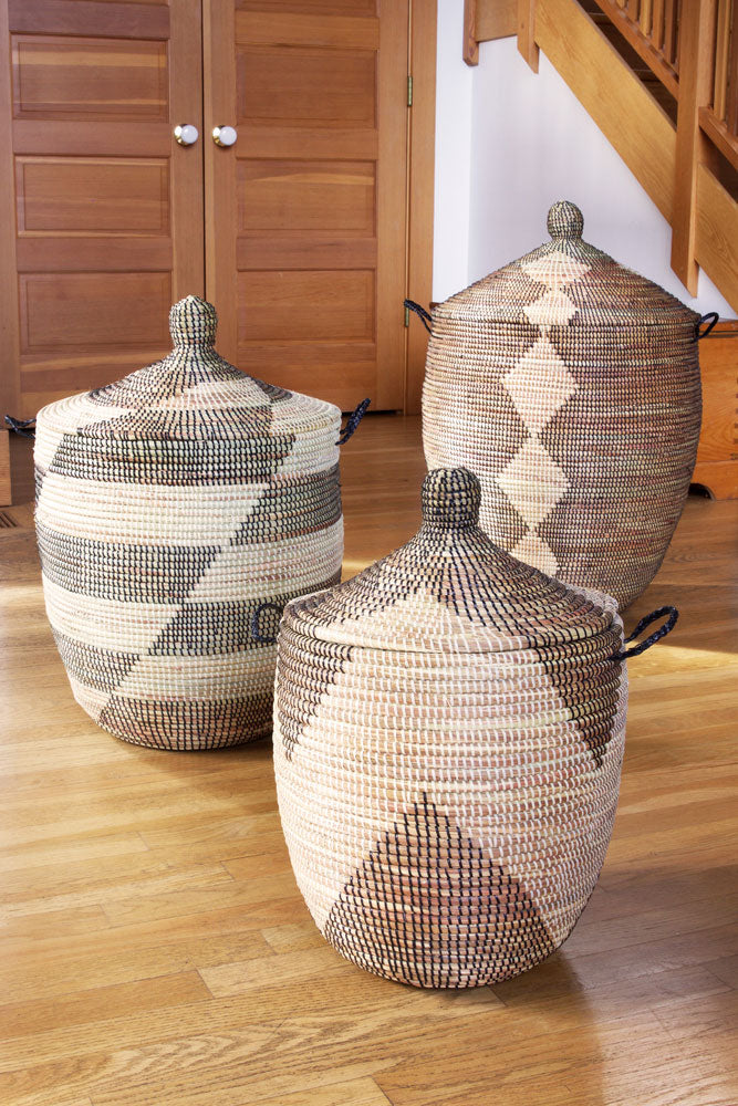 Set of 3 - Black and Beige Mixed Pattern Oversized Hampers - fairtribe