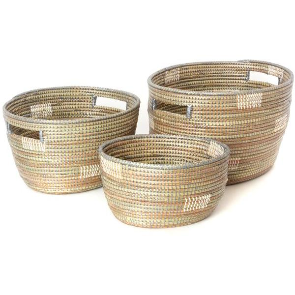 Set of 3 - Natural African Baskets from Senegal - fairtribe
