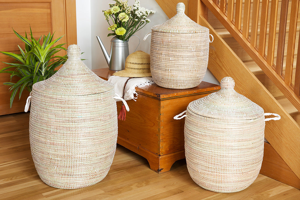 Set of 3 - Solid White Oversized Hampers - fairtribe