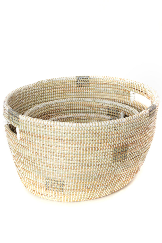 Set of 3-  White Block Print African Baskets - fairtribe
