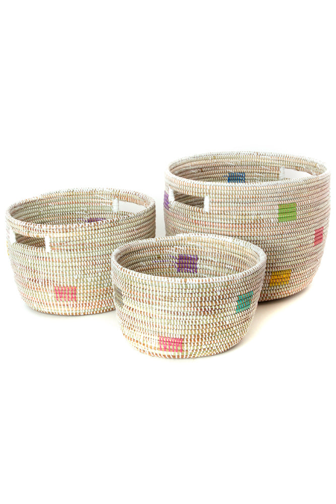 Set of 3-  Color Block Print African Baskets - fairtribe