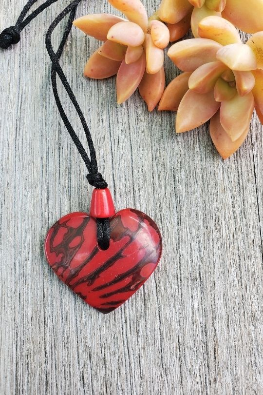 Tagua Nut Red Heart Pendant
