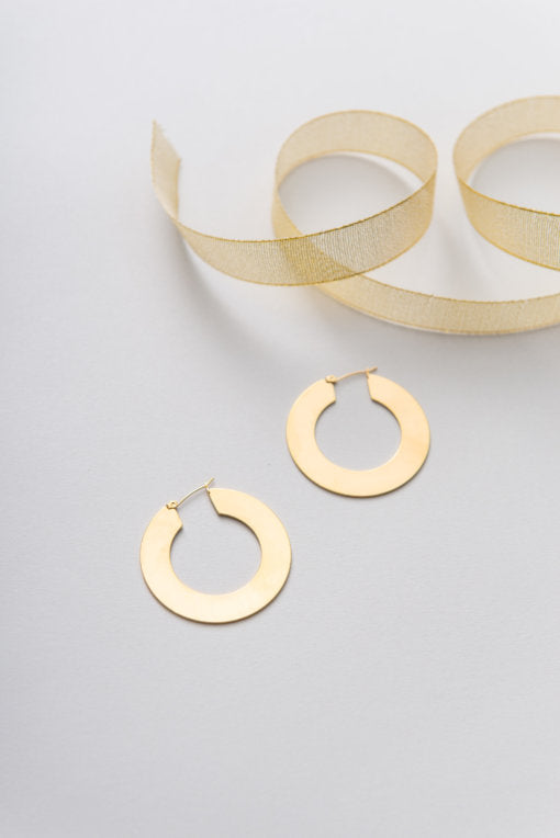 Thick 18k Gold Plated Hoop Earrings