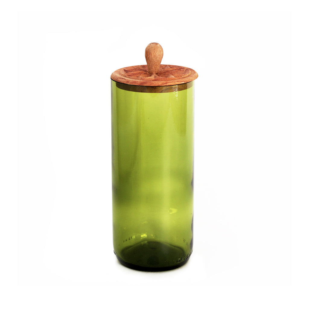 Tall Zanzibar Recycled Glass Canister - Green - fairtribe