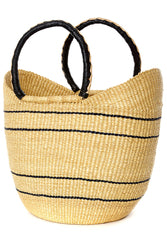 Bolga Tote, Natural with Blue Stripe Leather Handle - 18-inch
