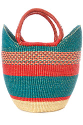 Bolga Tote, Coral & Aqua - Leather Handle - 18-inch