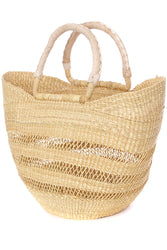 Bolga Tote, Natural Lace Pattern - Leather Handle - 18-inch