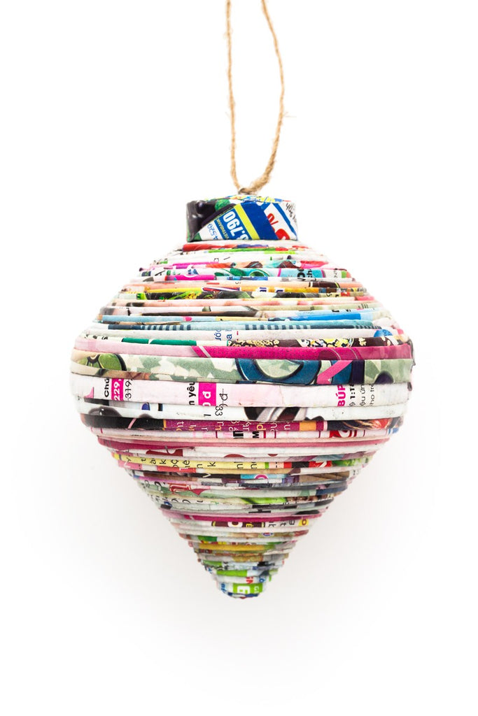 Recycled Paper Teardrop Ornament - fairtribe