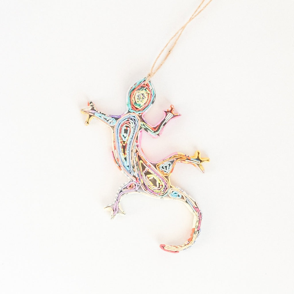 Recycled Paper Gecko Ornament - fairtribe