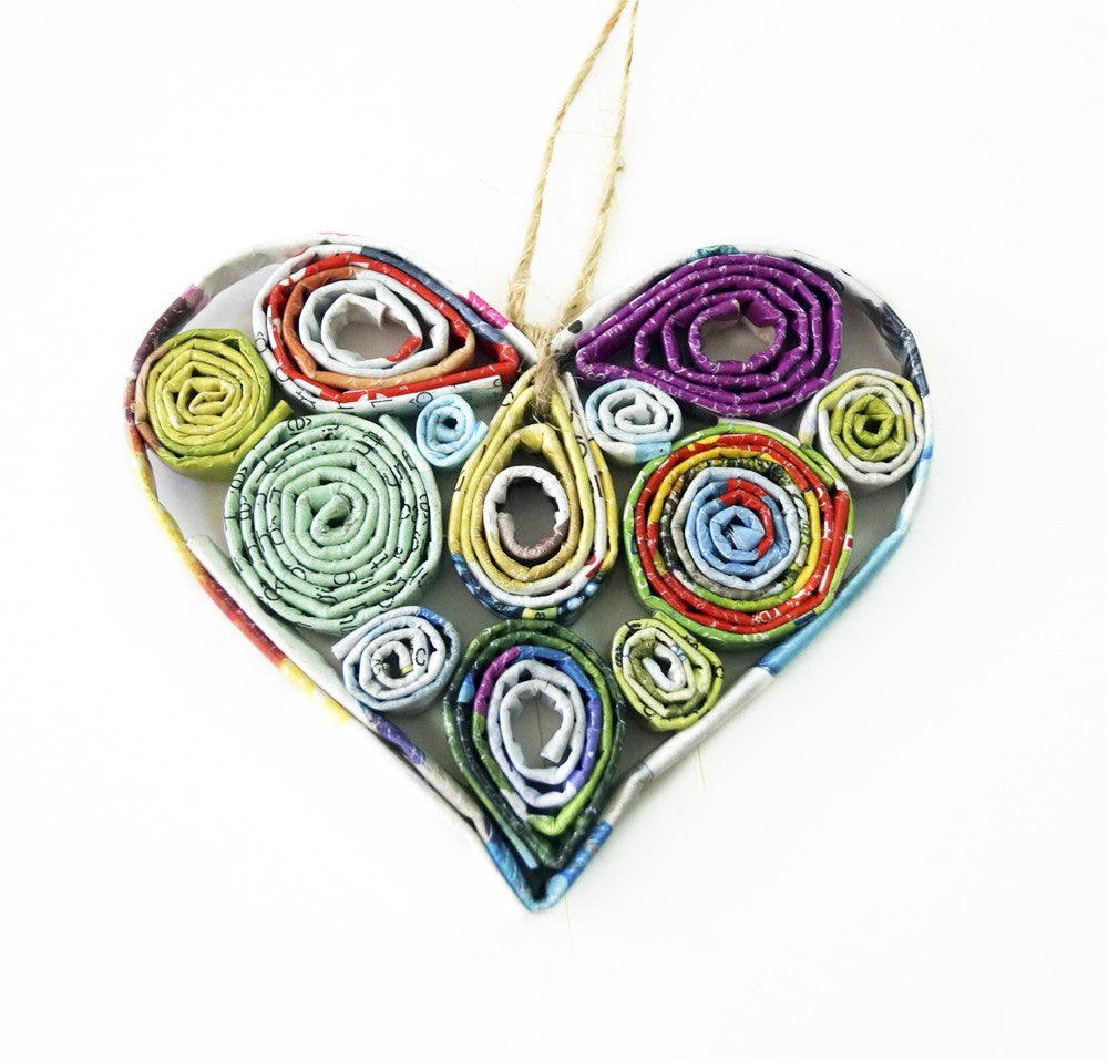 Recycled Paper Ornament - HEART - fairtribe