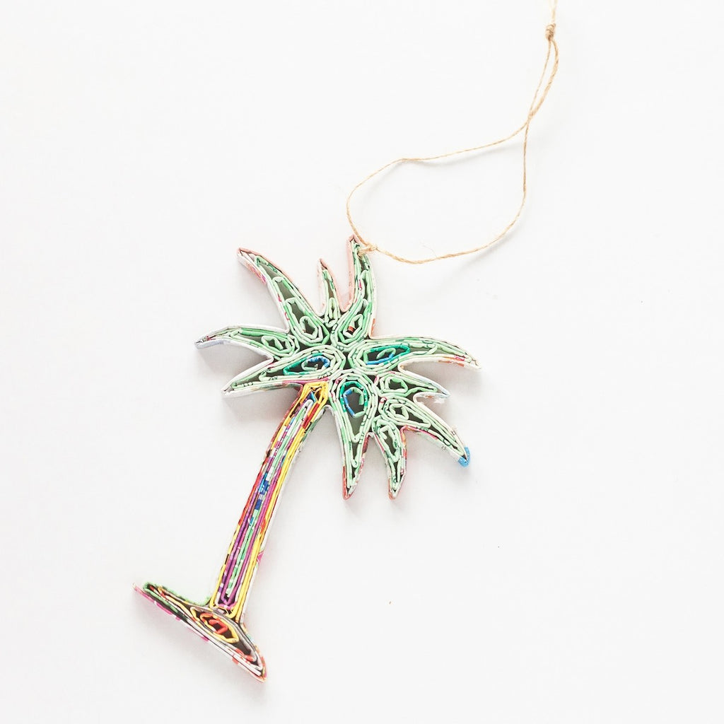 Palm Tree Recycled Paper Ornament